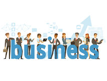 Group of smiling office people holding the word Business  Stock Images