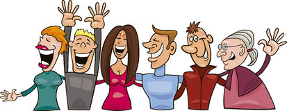 Group of smiling people. Cartoon  illustration of group of smiling people Royalty Free Stock Photo