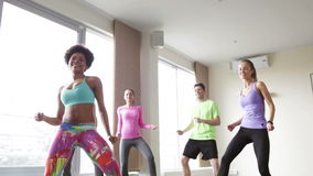 Group of smiling people dancing in gym or studio stock video