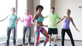 Group of smiling people dancing in gym or studio stock footage