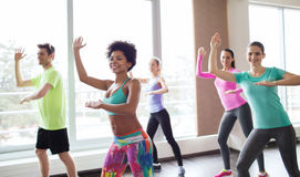 Group of smiling people dancing in gym or studio. Fitness, sport, dance and lifestyle concept - group of smiling people with coach dancing zumba in gym or studio Royalty Free Stock Image