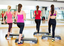 Group of smiling people doing aerobics Royalty Free Stock Images