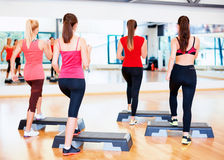 Group of smiling people doing aerobics Royalty Free Stock Photography