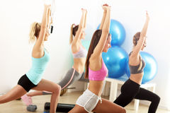 Group of smiling people doing aerobics. Group of happy women doing aerobics stock photo