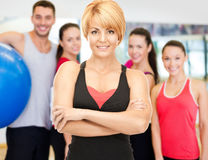 Group of smiling people exercising in the gym Stock Photography