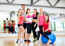 Group of smiling people in the gym Stock Image