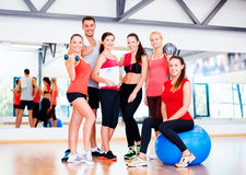 Group of smiling people in the gym Stock Photo