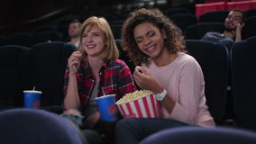 Group of smiling people watching movie stock video footage