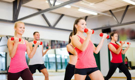 Group of smiling people working out with dumbbells Stock Photography