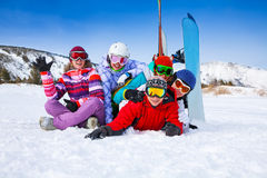 Group of smiling snowboarders Stock Image
