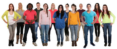 Group of smiling standing young people happy integration multi e. Thnic isolated on a white background Stock Image