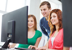 Group of smiling students having discussion Royalty Free Stock Photo