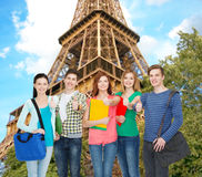 Group of smiling students standing. Education and people concept - group of smiling students standing Royalty Free Stock Image