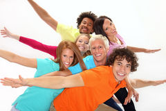 Group of smiling teenagers. Group of teenagers standing together and having fun Stock Photo