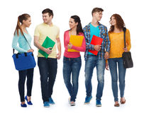 Group of smiling teenagers with folders and bags Stock Images