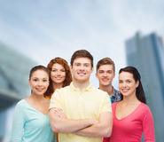 Group of smiling teenagers over city background Royalty Free Stock Images