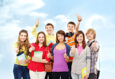 A group of happy teenagers posing together Royalty Free Stock Photography