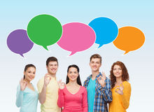 Group of smiling teenagers showing ok sign Royalty Free Stock Photos