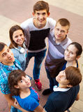 Group of smiling teenagers standing outdoors Stock Photos