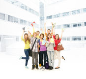 A group of teenagers on a school background Royalty Free Stock Image