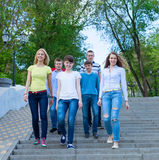 Group of smiling teenagers walking outdoors. Friendship concept Royalty Free Stock Image