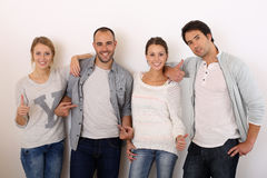 Group of smiling trendy friends isolated Royalty Free Stock Images