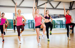 Group of smiling women exercising in the gym. Fitness, sport, training, gym and lifestyle concept - group of smiling women exercising in the gym Stock Photo