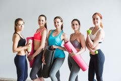 Group smiling women after training in fitness studio. Stock Photography