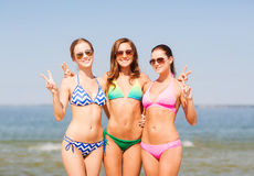 Group of smiling young women on beach Stock Image