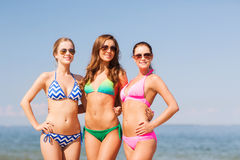Group of smiling young women on beach Stock Photos