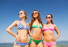 Group of smiling young women on beach Royalty Free Stock Image