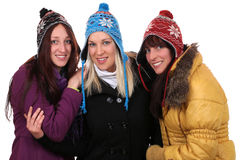Group of smiling young women people in winter with gloves and ca Stock Photos