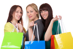 Group of smiling young women shopping Stock Photo