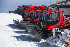 Group of Snow-grooming machine on snow Stock Photo