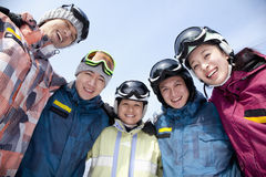 Group of Snowboarders in Ski Resort, low angle view Royalty Free Stock Image