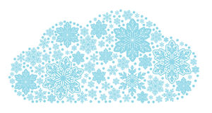 Group of snowflakes in the form of clouds. A cloud of blue snowflakes of different sizes Royalty Free Illustration