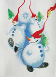Group of snowmen. In forest Royalty Free Stock Photography