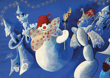 Group of snowmen. In forest Stock Photo