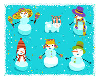 Group of snowmen with cute details Stock Image