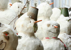 Group of snowmen Stock Image