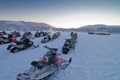 Group of snowmobiles Royalty Free Stock Images