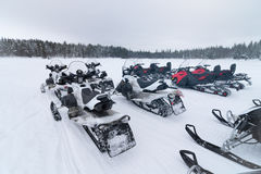 Group of snowmobiles Stock Photography