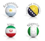 Group of soccer balls Stock Photography