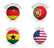 Group of soccer balls. Germany,Portugal,Ghana,USA Royalty Free Stock Photo