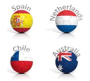Group of soccer balls Royalty Free Stock Photo