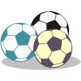 Group of soccer balls. Vector icon. Three balls. Color icon Royalty Free Stock Images