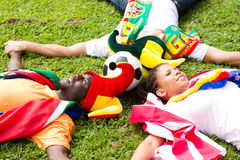 Group of soccer fans Stock Photography