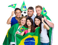 Group of soccer fans from different country Royalty Free Stock Images