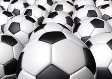 Group of soccer football. Many more soccer footballs fill in the frame Stock Photos