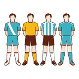 A group of soccer players #2 of 2. A group of soccer players with different national uniform Stock Photos